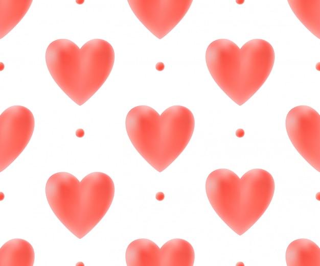 Бесшовный фон с красными сердцами.