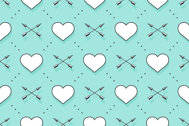 Бесшовный фон с сердечками и стрелами