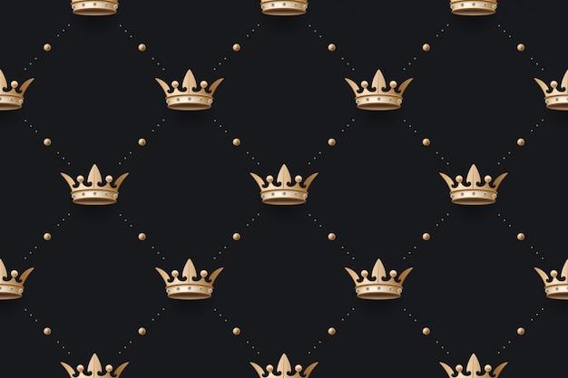Бесшовные золотая скороговорка и королевская корона с бриллиантом