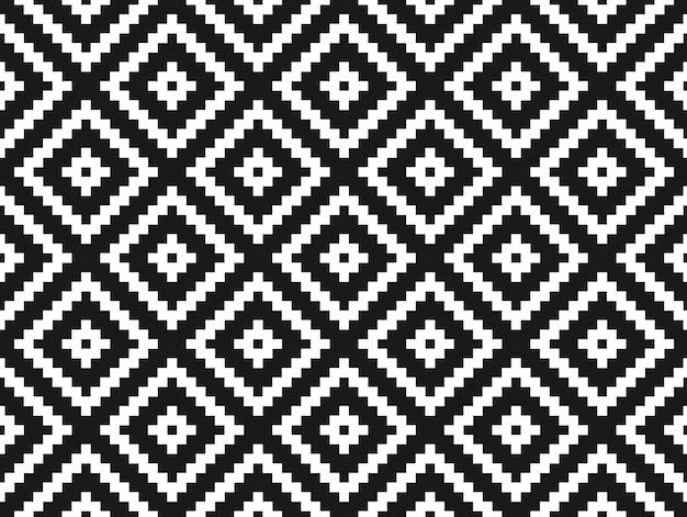 シームレスなモダンなスタイリッシュなテクスチャとパターン。黒い背景に点線の菱形の白い繰り返しの幾何学的なタイル。