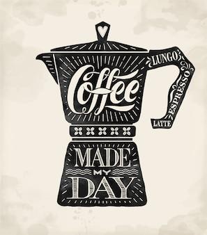 Плакат кофейник мока с рисованной надписью