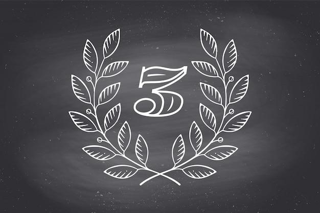 Значок лавровый венок с номером три