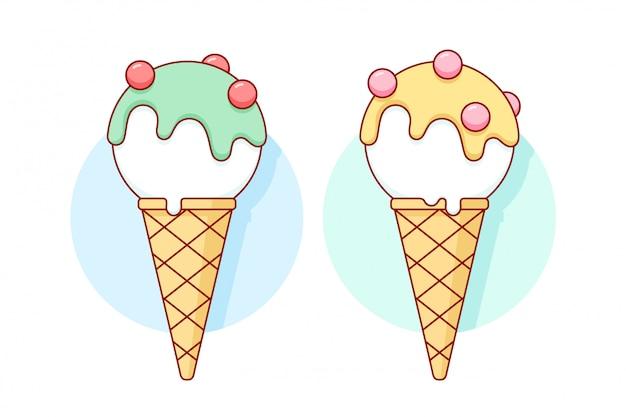 コーンの異なるパステルカラーの白いアイスクリームスクープ