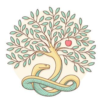 善と悪の知識を蛇、リンゴで樹木化してください。カラフルなデザイン。ベクトルイラスト。