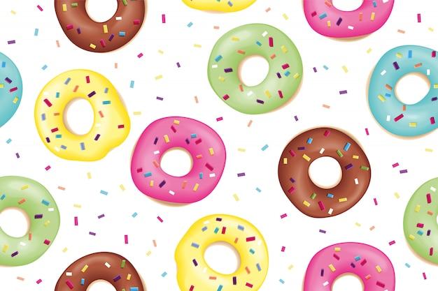 甘いカラフルなドーナツのパターン
