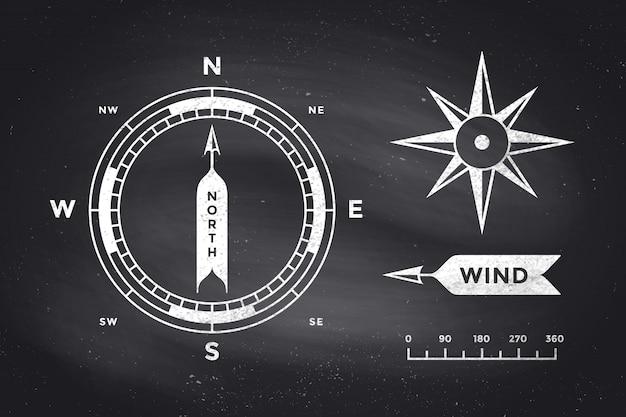 Роза ветров и компас. набор старинных стрелок для навигации