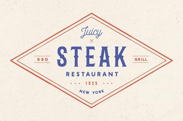 ステーキ、ロゴ、肉ラベル。テキストステーキレストラン、ジューシーなステーキのロゴ