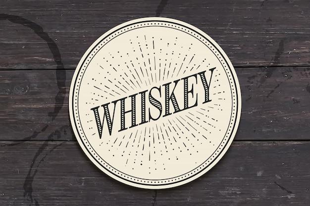 ウィスキーの碑文とガラスの飲料コースター