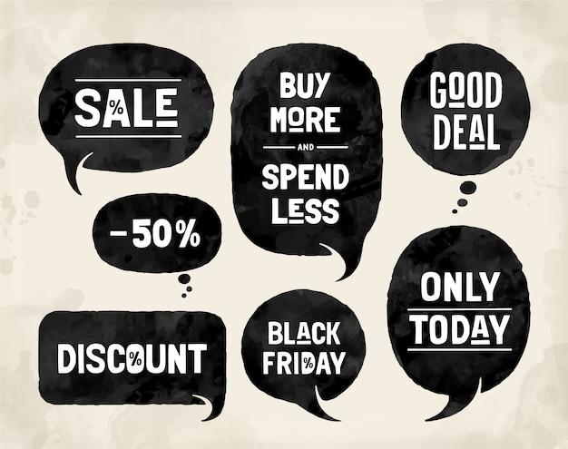 Набор пузырей, облачные разговоры, различные формы для тем продаж и скидок.