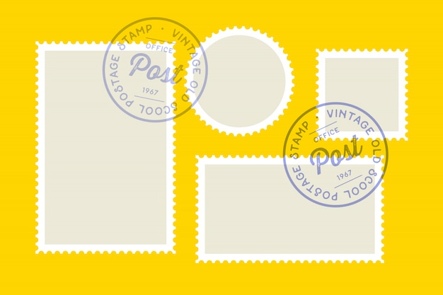郵便切手。切手のセット、コレクション広場、サークル