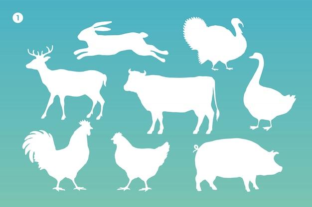 Набор силуэтов животных. белый силуэт животных