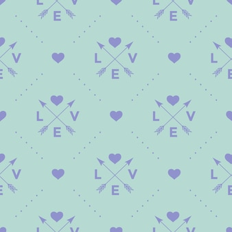 Бесшовный образец со стрелой, сердцем и любовью слова на бирюзовом фоне для дня святого валентина. иллюстрации.