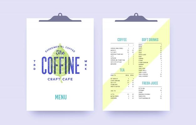 カフェ、レストランバー、パブのブランドアイデンティティ。古い学校のビンテージテンプレートメニュー、ラベル、カバーとテキストリストテンプレートのロゴ。バー、カフェ、レストランのビンテージクリップボードメニュー。図