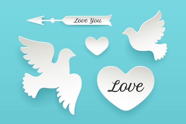 紙オブジェクト、ハート、鳩、鳥、矢印のセット