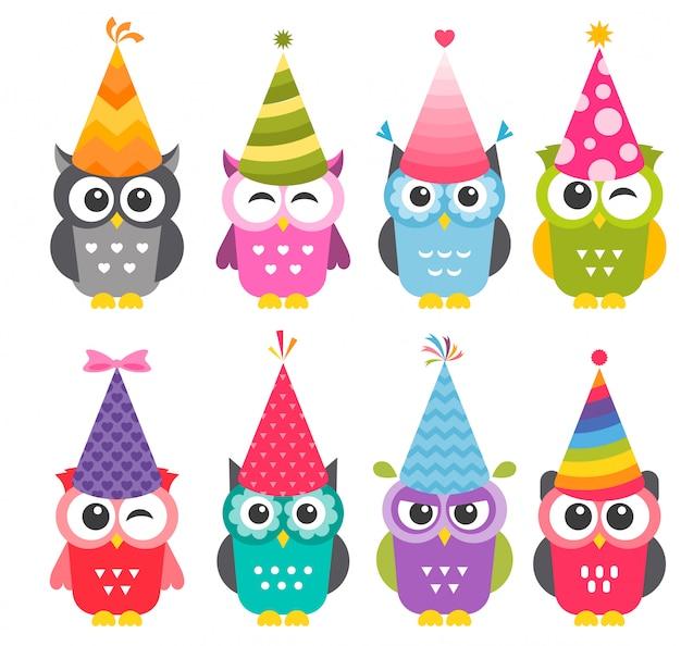 誕生日パーティーの帽子と漫画面白いフクロウ