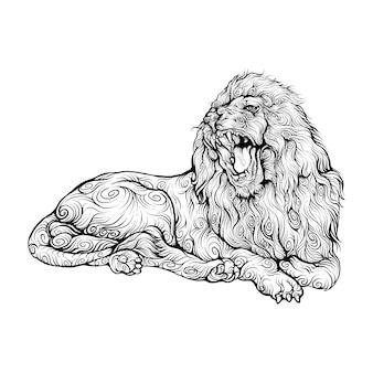 ライオンは巻き毛の手描きのスタイルでうなります