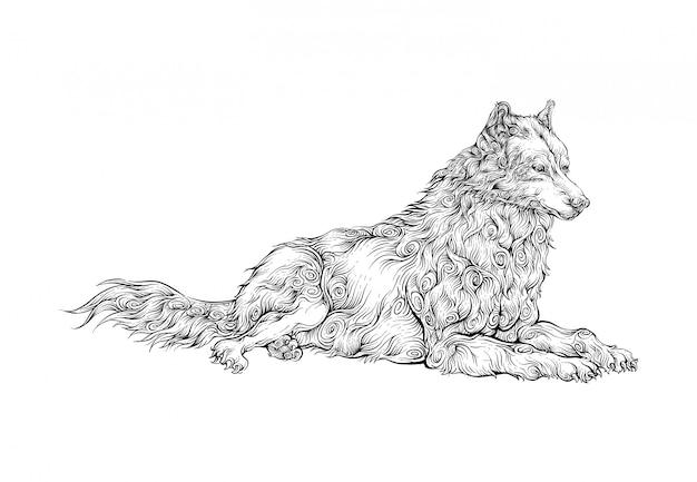 オオカミは、休憩手描き