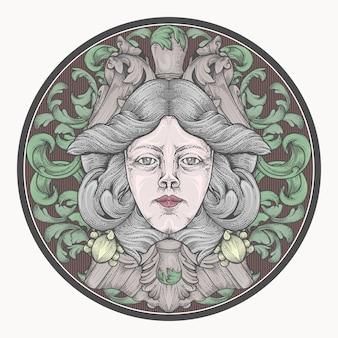 Украшение головы женщины в цвете рук рисунок
