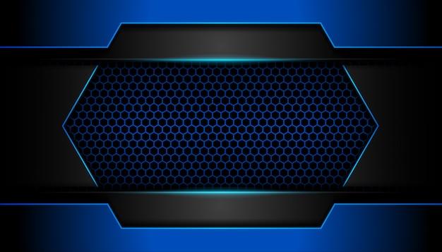 六角形の暗い背景に抽象的な青い光
