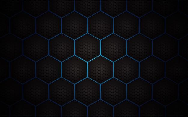 明るい青の背景に抽象的な六角形パターン