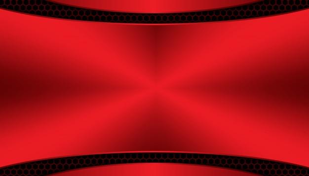 Абстрактный красный свет на темном фоне шестиугольника