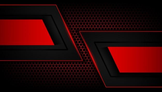 六角形の暗い背景に抽象的な赤い光