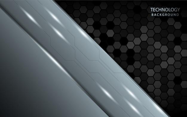 暗い六角形の抽象的な銀色の背景