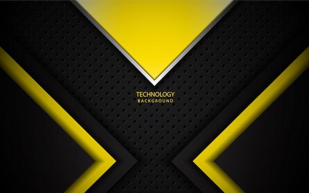 暗い背景に抽象的な黄色の金属光沢のある図形