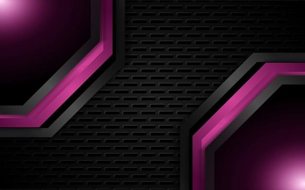 紫色の金属形状と抽象的な光の背景