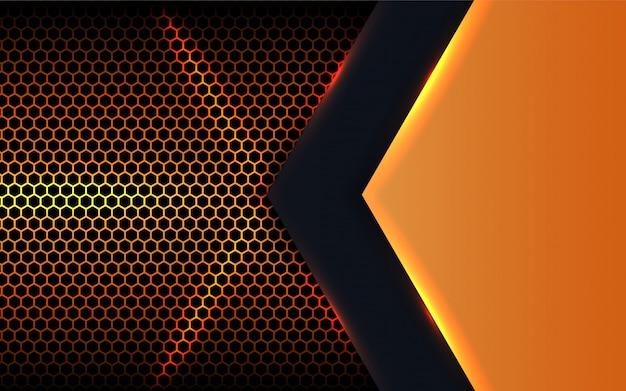 六角形の背景に抽象的な金属形状