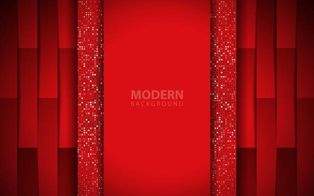豪華な赤い紙図形背景に光る要素