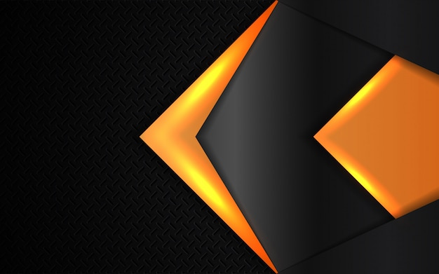 Абстрактные оранжевые легкие металлические формы на темном фоне