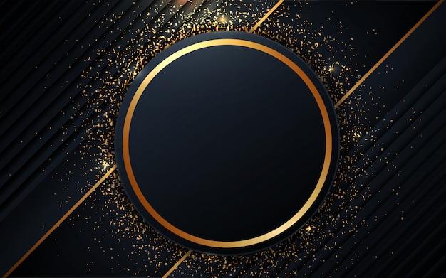 黄金の要素と抽象的な暗い青色の背景