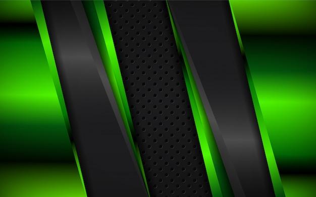 Абстрактный зеленый и черный металлик формы фон