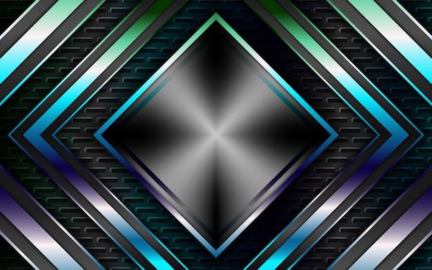 Абстрактный синий серебряный металлический фон формы