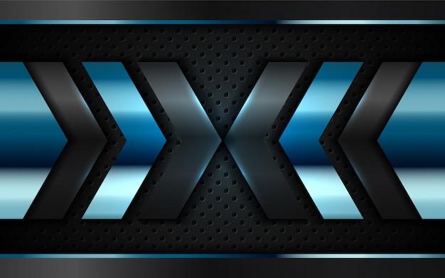 Абстрактный синий серебристый металлик форма на черном фоне