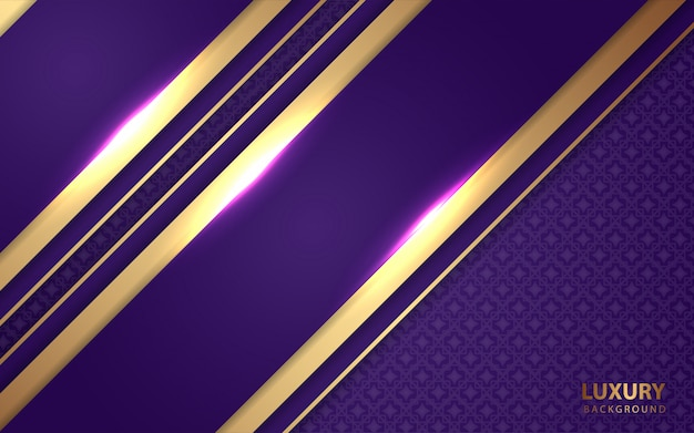 Роскошный фиолетовый фон с золотой линией украшения