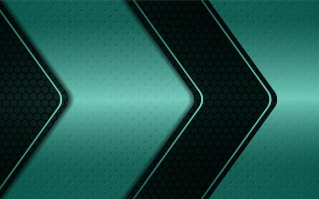 Абстрактный синий серебристый металлик форма на фоне шестиугольника