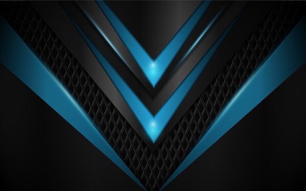 Абстрактный синий и черный металлик формы фон