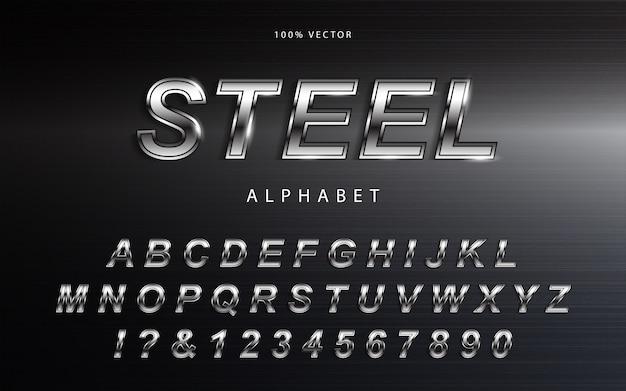 Серебряный металлик алфавит шрифт