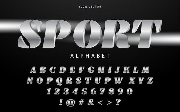 Спорт современный алфавит шрифт с сильным серебристым цветом