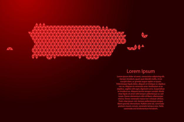 プエルトリコ地図の抽象的な回路図に赤い三角形のテンプレート
