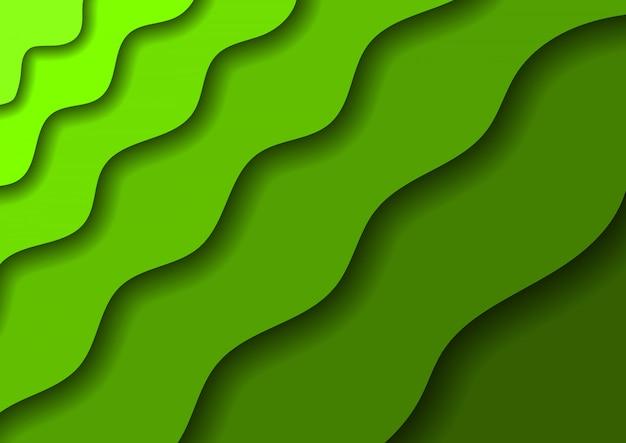 Бумага вырезать фон зеленые волны и тени