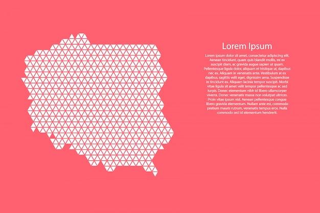 赤い三角形で作られたポーランドの概略図
