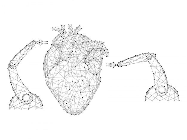 抽象的な未来的な多角形の黒い線とドットから革新的なロボットアームマニピュレーターによる医療心臓手術。図。