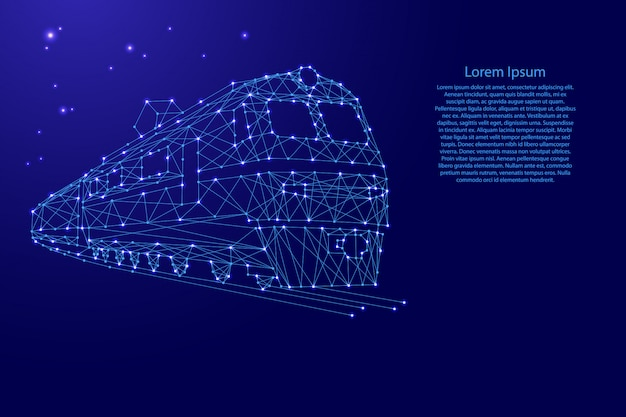 Поезд электровоза с вагонами из футуристических многоугольных синих линий и светящихся звезд по шаблону