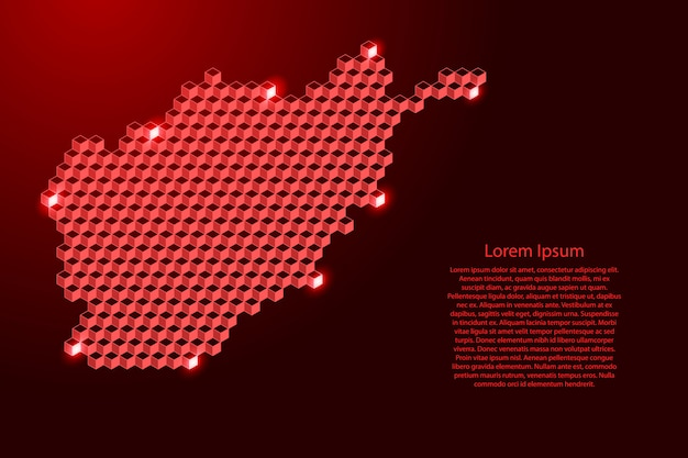 Карта афганистана из трехмерных красных кубиков