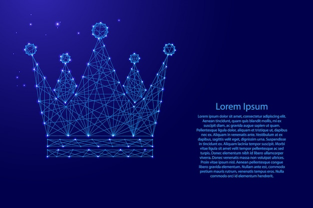 未来の多角形の青い線とバナー、ポスター、グリーティングカードの輝く星から王冠ロイヤルインペリアルアイコン回路図。