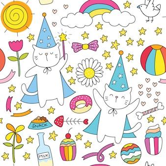 かわいい小さな猫のパターン手描き