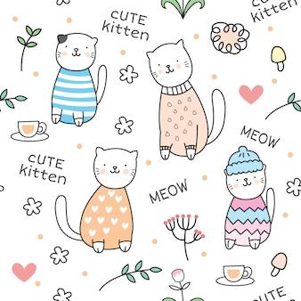 かわいい子猫のシームレスパターン